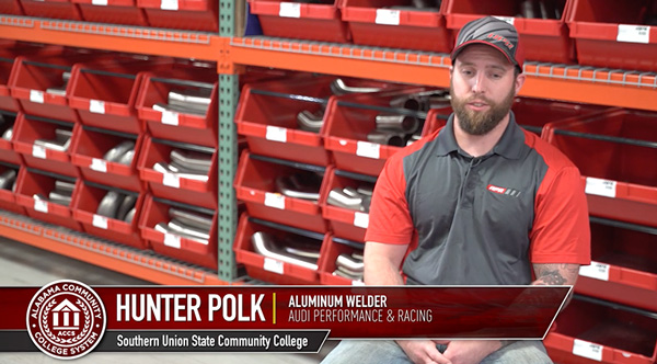 Hunter Polk, an aluminum welder at Audi performance and racing who graduated from Southern Union State Community College