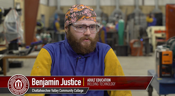 "Video link with Benjamin Justice ""adult education welding technology"" of Chattahoochee Valley Community College"