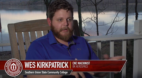 "Wes Kirkpatrick, a CNC machinist ""BK AEROSPACE"" from Southern Union State Community College"