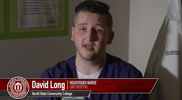 David Long a registered nurse at UAB hospital who graduated from Bevill State Community College