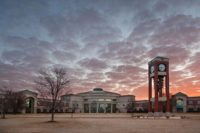 Shelton State building and clocktower at sunset