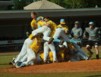 Group of baseball players celebrating a win